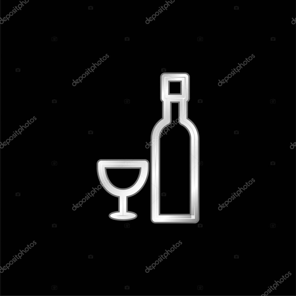 Bottle And Glass silver plated metallic icon stock vector