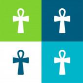 Ankh Cross Byt čtyři barvy minimální ikona nastavena