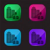 Boss négyszínű üveg gomb ikon