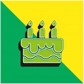 Narozeninový dort Zelené a žluté moderní 3D vektorové logo ikony