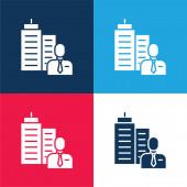 Boss kék és piros négy szín minimális ikon készlet