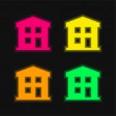 Apartman négy színű izzó neon vektor ikon