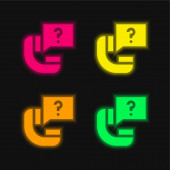Ask four color glowing neon vector icon