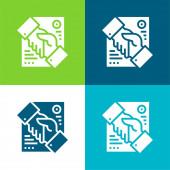 Dohoda Byt čtyři barvy minimální ikona nastavena