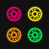 Bagel four color glowing neon vector icon