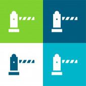 Barriere Flat vier Farben minimalen Symbolsatz