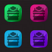 Booth four color glass button icon