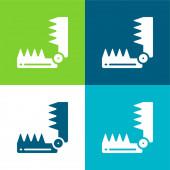 Medve csapda Lapos négy szín minimális ikon készlet