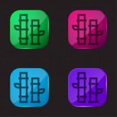 Bamboo four color glass button icon