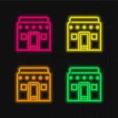 Africké čtyři barvy zářící neonový vektor ikona