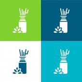 Aromaterapie Byt čtyři barvy minimální ikona nastavena