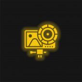 Action Camera gelb leuchtendes Neon-Symbol