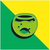 Aquarium Zelené a žluté moderní 3D vektorové logo