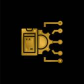 APi pozlacená kovová ikona nebo vektor loga