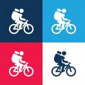 Kerékpár kék és piros négy szín minimális ikon készlet