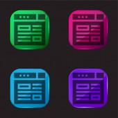 Blogging Vier-Farben-Glas-Taste Symbol