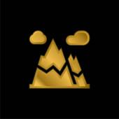 Alpy pozlacené kovové ikony nebo vektor loga