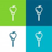 Apple On A Fork Flat čtyři barvy minimální ikona nastavena