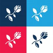 Virágos kék és piros négy szín minimális ikon készlet