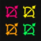 Íjászat négy szín izzó neon vektor ikon