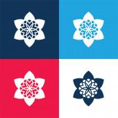 Gyönyörű buddhista Virág kék és piros négy szín minimális ikon készlet