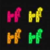 Születésnap négy szín izzó neon vektor ikon