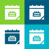 Születésnap Dátum Lakás négy szín minimális ikon készlet