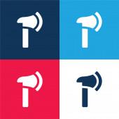 Axe kék és piros négy szín minimális ikon készlet