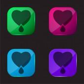 Vérző szív négyszínű üveg gomb ikon