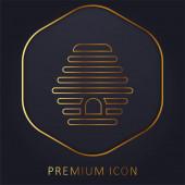 Zlatá linie úlu prémie logo nebo ikona