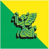 Angel Zöld és sárga modern 3D vektor ikon logó