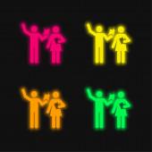 Chování Třída čtyři barva zářící neonový vektor ikona