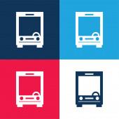 Big Bus přední modrá a červená čtyři barvy minimální ikona nastavena