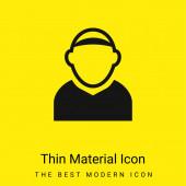 Männlicher Avatar mit Glatze minimal leuchtend gelbes Material-Symbol