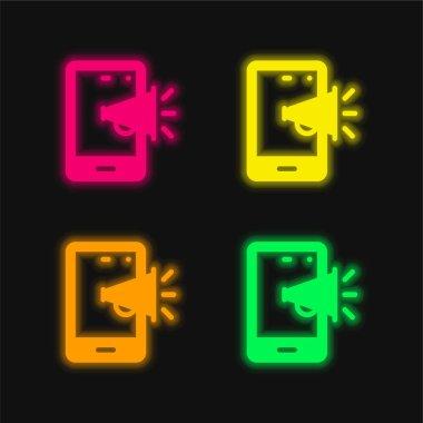 Dört renk parlayan neon vektör simgesi tanıtılıyor