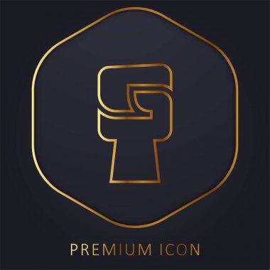 Black Power golden line premium logo or icon stock vector