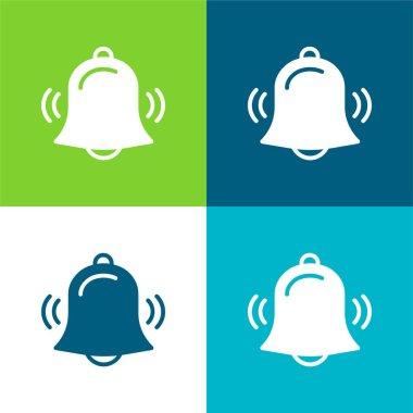 Alarm Flat four color minimal icon set stock vector