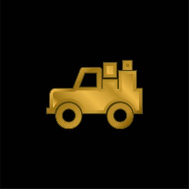All Terrain Vehicle With Cargo gold plated metalic icon or logo vector stock vector