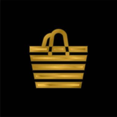 Beach Bag gold plated metalic icon or logo vector stock vector