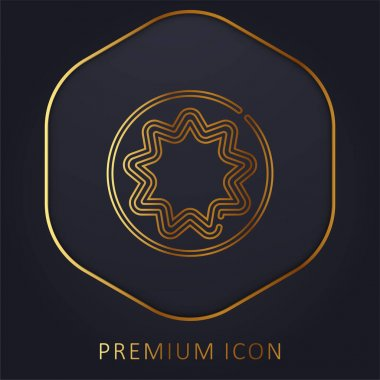 Bahaism golden line premium logo or icon stock vector