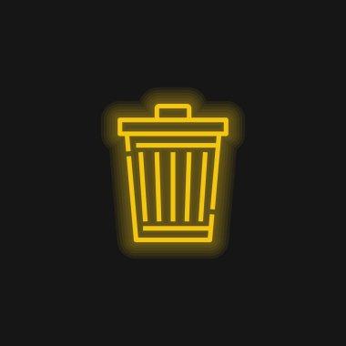Bin yellow glowing neon icon stock vector