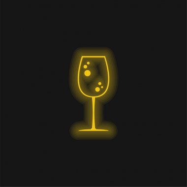 Big Drink Glass With Bubbles yellow glowing neon icon stock vector