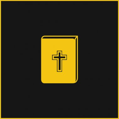 Bible With Cross Sign In Front yellow glowing neon icon stock vector