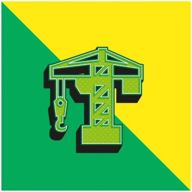 Architecture Crane Tool Green and yellow modern 3d vector icon logo stock vector