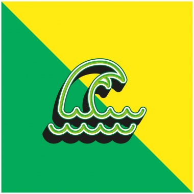 Big Wave Green and yellow modern 3d vector icon logo stock vector