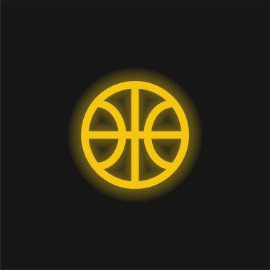 Basketball yellow glowing neon icon stock vector