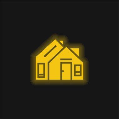 Address yellow glowing neon icon stock vector
