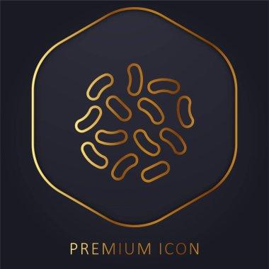 Bakteri altın çizgi premium logosu veya simgesi