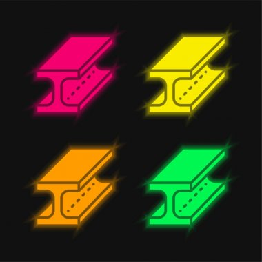 Beam four color glowing neon vector icon