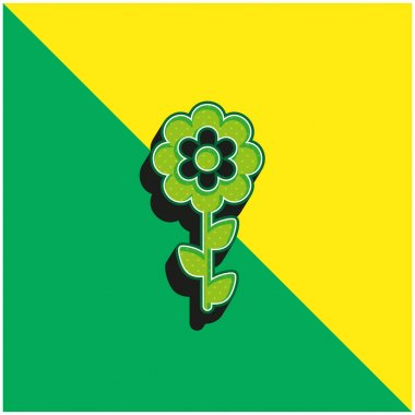 Bloom Flower Green and yellow modern 3d vector icon logo stock vector